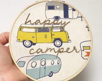 Happy Camper Hoop Embroidery