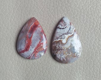 Natural Crazy Lace Agate Cabochon Gemstone Size 37x24x7, 34x24x7 MM Approx, Weight 60 Carat Teardrop Shaped Gemstones, Wholesale Agate.