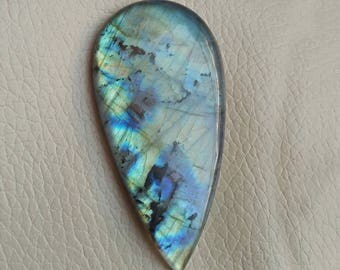 152 Carat Natural Multi Fire Labradorite Cabochon Gemstones, Beautiful Pear Shape Labradorite Semi Precious Stone Size 69x35x9 MM Approx.