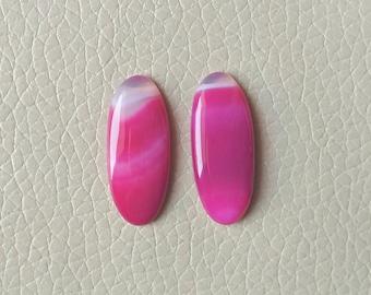 Beautiful Pink Natural Botswana Agate Matching Pair Gemstone, 23 Carat Designer Cabochon Gemstone, Beautiful Jewelry Pair Earring Gemstones.