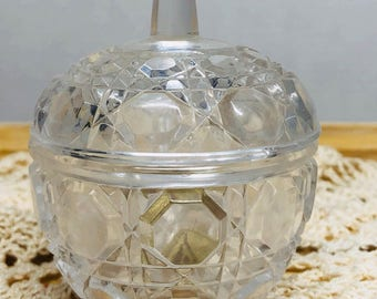 Vintage Anna Hutte Bleikristall Lead Crystal Covered Ring Dish