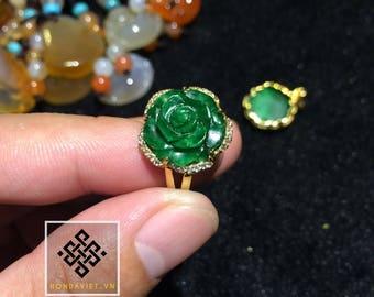 Golden Jade Ring Jade Flower