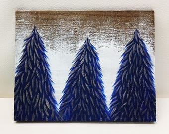 Blue & Gold Shimmer Snowy Trees Painting on Wood