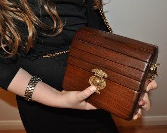 wood leather ladies handbag