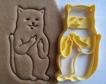 Cat with Middle Finger Cookie cutter