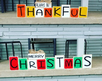 Reversible Indoor/Outdoor Holiday Thanksgiving & Christmas Sign