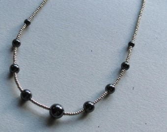 Necklace with graduated hematite rounds, 15 in.