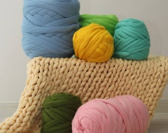 Super Chunky Yarn, Super Bulky Yarn, Arm Knitting Yarn, Chunky Merino Yarn, DIY Arm Knit Blanket, Super chunky Wool 21 micron.