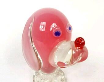Vintage figure Murano Glass pink dog Archimede Seguso 1950 mid century modern vetro di Murano figura cane chien en verre