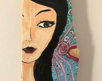 Calm Head Fairy painted on an old pine board / Wróżka na spokojną głowę malowana na starej sosnowej desce