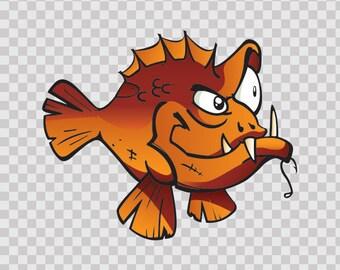 Decals Decal piranha Dusky Grouper Fish Bicycle Weatherproof 05939