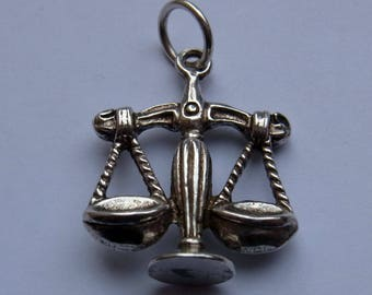 Vintage Libra Scales pendant - sterling silver - made in London in 1973 - horoscope theme