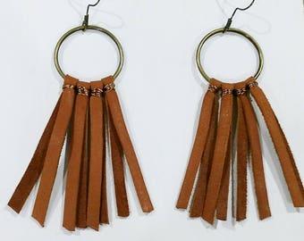 Brown deerskin leather tassel hoop earrings