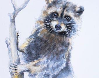 Raccoon Watercolor Painting Raccoon Lover Gifts Wildlife Wall Art Raccoon Illustration Animal Watercolor Nature Nursery Art Decor