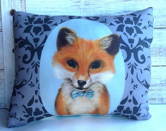 Fox Pillow with Bow Tie