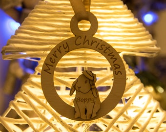 Personalised Rabbit Christmas Tree Bauble - Decoration - Engraved or Braille - Birch