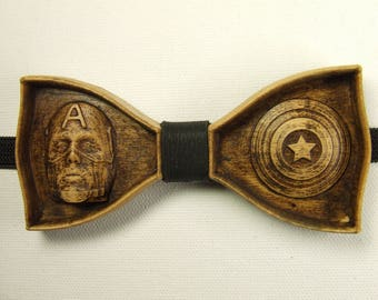 Captain America Avengers Marvel Anniversary Boyfriend gift Bow tie wood Wooden bow tie Unique Bow Tie Men's Bow Ties