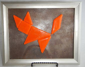 Fused Glass Tangram Puzzle with 8 X 10 Framed Metal Background