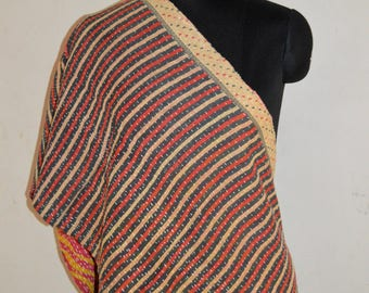 Indian Reversible Handmade Vintage Cotton Kantha Stole Neck Wrap Scarf KS03