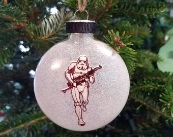Storm Trooper Handmade glass ornament, Star Wars, Unique Gift, Made in the USA