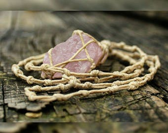 Raw Rose Quartz Crystal Necklace F hand made with hemp