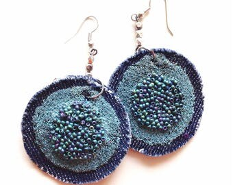 Circular Blue Jean Earrings