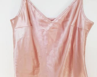 VINTAGE pink camisole cami slip silky top lingerie