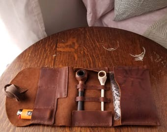 Three Pipe Leather Pipe Roll