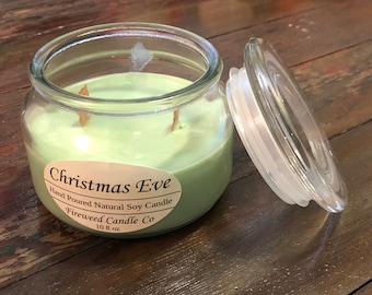 Christmas Eve | 10 fl oz Handpoured Soy Candles with Wood Wicks