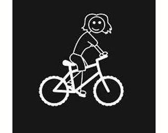 Mom on a Mountain Bike - Bicycle Family Vinyl Window Sticker