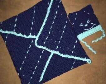 Blue Baby Blanket & Hat