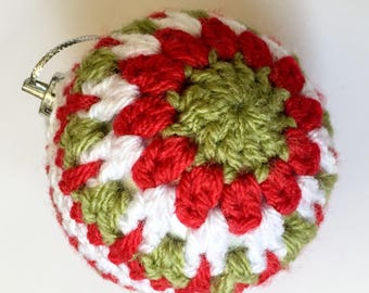 Red, Green and White Crocheted Bauble