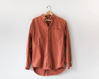 Men's Burnt Orange Button Up // Vintage 90's LL Bean Shirt  // Size Medium // 100% Cotton