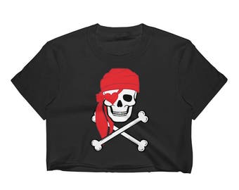 Jolly Roger Pirate Skull Women's Crop Top