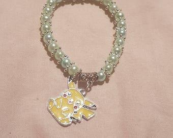 New kids 6mm Pearls Beads stretch bracelet with Pokemon Charm