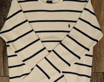 Vintage Polo by Ralph Lauren - Crew Neck Sweater - Off White w/ Navy Blue Horizontal Stripes & Polo Man