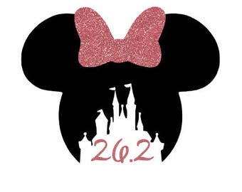 Minnie Mouse marathon decal, half marathon decal