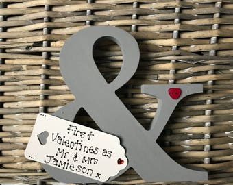 """Personalised """"&"""" sign, valentines, Wedding, Engagement  gift"""