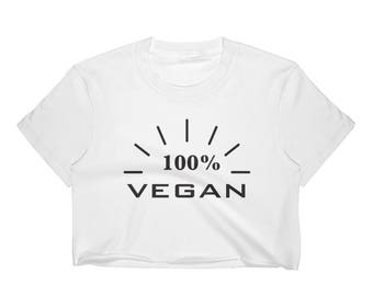 Vegan Crop Tee, Vegan crop top, 100% Vegan, Women's crop top, vegan clothing for women