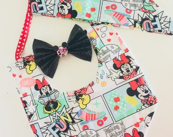 Mini mouse Top Knot & Bib Set