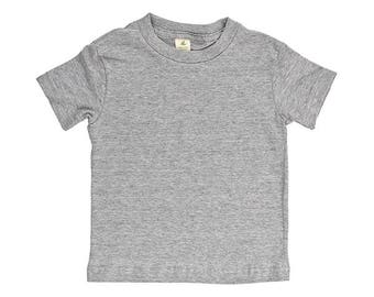 Organic Cotton Short Sleeve Kid's Tee - Heather Grey - USA Made