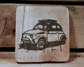 Set of 4 wooden coasters - Fiat 500
