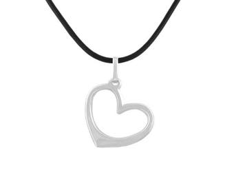 Sterling Silver Heart Pendant, Silver Heart Necklace