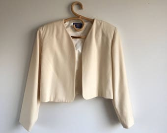 Cream Pendleton Bolero Jacket /  Cream Wool Short Blazer