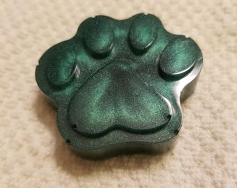 Handmade hunter green dog paw paperweight