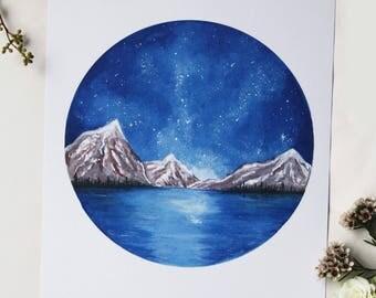Mountains A4 watercolour print