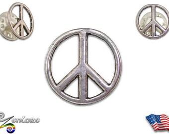 Peace Sign Pewter Lapel Hat Pin Hippie Bohemian Grateful Dead Head Anti War Rainbow Love Symbol Button Brooch Coat Tie Bag Purse Backpack