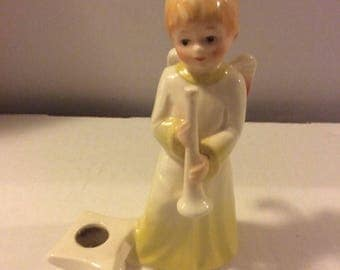 Goebel West Germany Boy Angel Candle Holder - Trumpet Player #42 018 12 TMK-6 Missing Bee 1979-1991