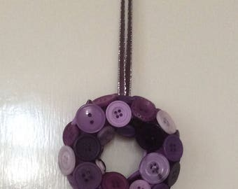 Mini purple button wreath