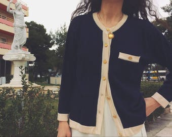 Vintage classic blue & cream wool cardigan with gold buttons
